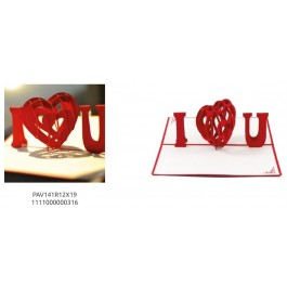 BIGLIETTO DI AUGURI POP-UP 3D - AMORE - I LOVE YOU