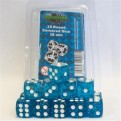 40013 -  SET 15 DADI D6 16MM - BLU GLITTER