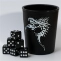 91732 -  DICE CUP - SET BICCHIERE E 6 DADI D6 16MM - BLACK DRAGON