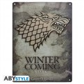 ABYPLA006 - GAME OF THRONES - PLACCA METALLICA STARK 28X38 CM