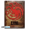 ABYPLA007 - GAME OF THRONES - PLACCA METALLICA TARGARYEN 28X38 CM