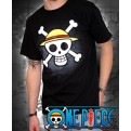ABYTEX040L - T-SHIRT - ONE PIECE - SKULL WITH MAP BLACK L