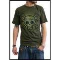 ABYTEX059XL - T-SHIRT - ONE PIECE - SKULL WITH MAP USED KAKI XL