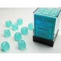 CHX 27805 - SET 36 DADI 6 FACCE 12MM - FROSTED TEAL W/WHITE