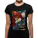 JUSTICE LEAGUE - T-SHIRT DONNA - HEROES POP ART - L