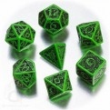 SCER15 - SET 7 DADI CELTIC 3D VERDE/NERO