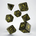 SRUN07 - SET 7 DADI RUNIC BLACK YELLOW