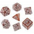 SSTC72 - SET 7 DADI STEAMPUNK CLOCKWORK CARAMEL/BIANCO - 55078