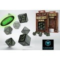 SSTE19 - 55084 - SET 7 DADI STEAMPUNK GLOW IN THE DARK