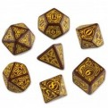 SSTE32 - SET 7 DADI STEAMPUNK MARRONE/GIALLO