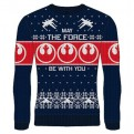 STAR WARS - KNITTED JUMPER - MAY THE FORCE BLUE L