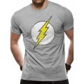 THE FLASH - T-SHIRT - DISTRESSED LOGO GREY - S