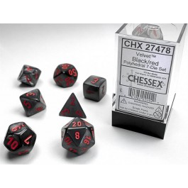 CHX 27478 - SET 7 DADI POLIEDRICI - VELVET BLACK W/RED