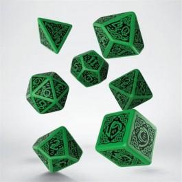 SCER15 - SET 7 DADI CELTIC 3D GREEN BLACK
