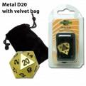 07226 - DADO D20 IN METALLO CON SACCHETTO IN VELLUTO - GOLD
