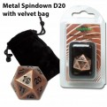 07240 - DADO D20 SPINDOWN IN METALLO CON SACCHETTO IN VELLUTO - ANTIQUE COPPER