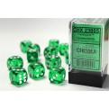 CHX 23605 - SET 12 DADI 6 FACCE 16MM - GREEN W/WHITE