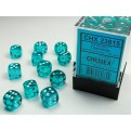 CHX 23815 - SET 36 DADI 6 FACCE 12MM - TEAL W/WHITE
