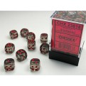 CHX 23818 - SET 36 DADI 6 FACCE 12MM - SMOKE W/RED
