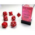 CHX 25404 - SET 7 DADI POLIEDRICI OPACHI - RED W/WHITE