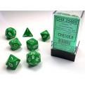 CHX 25405 - SET 7 DADI POLIEDRICI OPACHI - GREEN W/WHITE