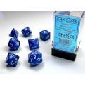 CHX 25406 - SET 7 DADI POLIEDRICI OPACHI - BLUE W/WHITE