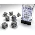 CHX 25410 - SET 7 DADI POLIEDRICI OPACHI - GREY W/BLACK