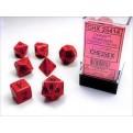 CHX 25414 - SET 7 DADI POLIEDRICI OPACHI - RED W/BLACK
