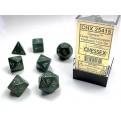CHX 25415 - SET 7 DADI POLIEDRICI OPACHI - DUSTY GREEN W/GOLD