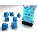 CHX 25416 - SET 7 DADI POLIEDRICI OPACHI - LIGHT BLUE W/WHITE