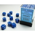 CHX 25806 - SET 36 DADI 6 FACCE 12MM OPACHI - BLUE W/WHITE