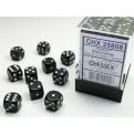 CHX 25808 - SET 36 DADI 6 FACCE 12MM OPACHI - BLACK W/WHITE