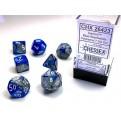 CHX 26423 - SET 7 DADI POLIEDRICI GEMINI - BLUE-STEEL W/WHITE