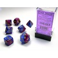 CHX 26428 - SET 7 DADI POLIEDRICI GEMINI - BLUE-PURPLE W/GOLD