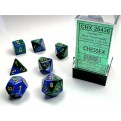 CHX 26436 - SET 7 DADI POLIEDRICI GEMINI - BLUE-GREEN W/GOLD