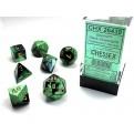 CHX 26439 - SET 7 DADI POLIEDRICI GEMINI - BLACK-GREEN W/GOLD