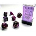 CHX 26440 - SET 7 DADI POLIEDRICI GEMINI - BLACK-PURPLE W/GOLD
