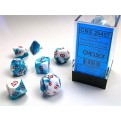 CHX 26457 - SET 7 DADI POLIEDRICI GEMINI - ASTRAL BLUE-WHITE W/RED