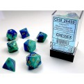 CHX 26459 - SET 7 DADI POLIEDRICI GEMINI - BLUE-TEAL W/GOLD