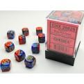 CHX 26829 - SET 36 DADI 6 FACCE 12 MM GEMINI - BLUE-RED W/GOLD