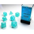 CHX 27405 - SET 7 DADI POLIEDRICI - FROSTED TEAL W/WHITE