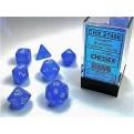 CHX 27406 - SET 7 DADI POLIEDRICI - FROSTED BLUE W/WHITE
