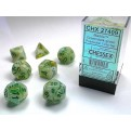 CHX 27409 - SET 7 DADI POLIEDRICI - MARBLE GREEN W/DARK GREEN