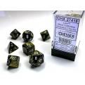 CHX 27418 - SET 7 DADI POLIEDRICI - LEAF BLACK GOLD W/SILVER