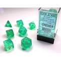 CHX 27425 - SET 7 DADI POLIEDRICI - BOREALIS LIGHT GREEN W/GOLD