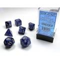 CHX 27427 - SET 7 DADI POLIEDRICI - SCARAB ROYAL BLUE W/GOLD