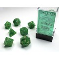 CHX 27435 - SET 7 DADI POLIEDRICI - VORTEX GREEN W/GOLD