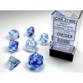 CHX 27466 - SET 7 DADI POLIEDRICI - NEBULA DARK BLUE W/WHITE