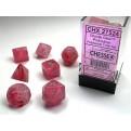 CHX 27524 - SET 7 DADI POLIEDRICI - GHOSTLY GLOW PINK/SILVER