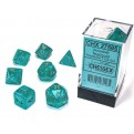 CHX 27585 - SET 7 DADI POLIEDRICI - BOREALIS TEAL/GOLD LUMINARY